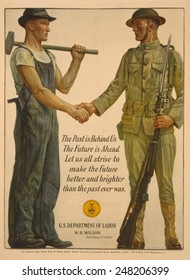 World War 1 poster of solidarity between solders and workers. 1918. Poster reads, 'The past is behind us, the future is ahead.