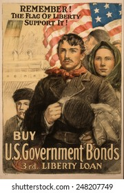 World War 1 poster urging immigrants to by Liberty Bonds in 1917. Poster reads, 'Remember! The flag of liberty--Support it! Buy U.S. government bonds, 3rd Liberty Loan.'