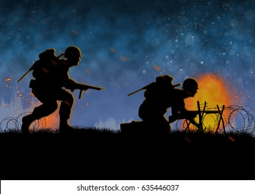 World War 2 image with US soldier silhouette on a  battlefield. Original illustration.