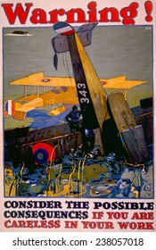 World War I American homefront aircraft production war work poster by L.N. Britton, ca. 1917