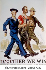 World War I American poster depicting the unity of war workers and the military by James Montgomery Flagg, 1918