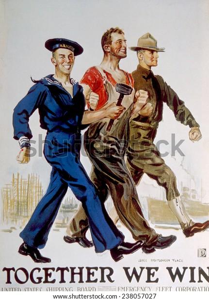 ジェームズ・モンゴメリー・フラッグによる軍人と軍人の団結を描いた第 ...