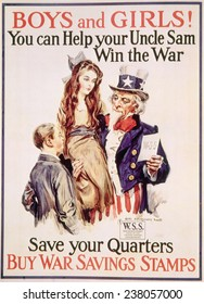 World War I American war savings stamps poster by James Montgomery Flagg, 1918