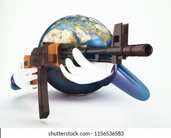 world in war concept 3d rendering