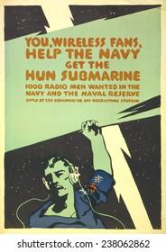 World War I, Navy recruitment poster. ca 1914-1918.