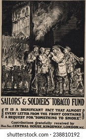 World War I, soldiers smoking outside a damaged church, 'Sailors' & Soldiers' Tobacco Fund. Designed by Frank Brangwyn, illustration, 1915.