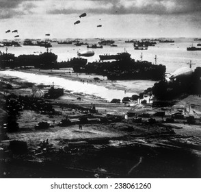 World War II, Allied ships landing military supplies on Omaha Beach after the D-Day invasion, 1944,