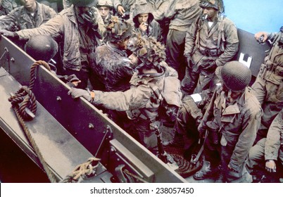 World War II, Troops in a landing craft during the Battle of Normandy, 1944,