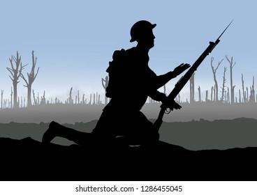 World War One British soldier silhouette on a battlefield. 1914 - 1918 uniform. Original digital illustration.