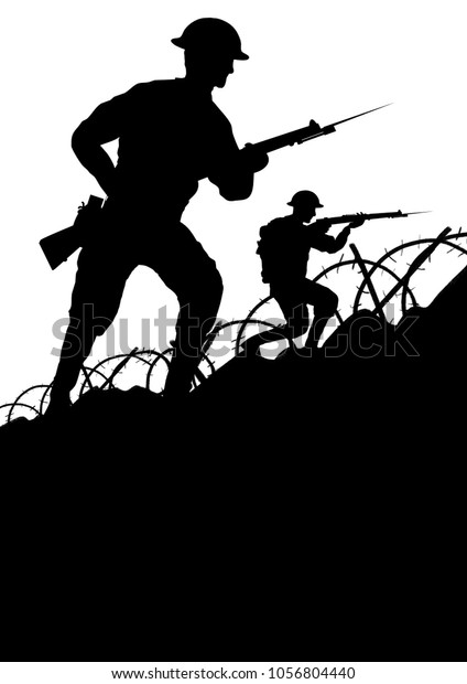 World War One British solider going forward with a gun silhouette.   Space for text. Original computer illustration.