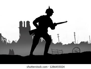 World War One German soldier silhouette on a battlefield. 1914 - 1916 uniform. Original digital illustration.