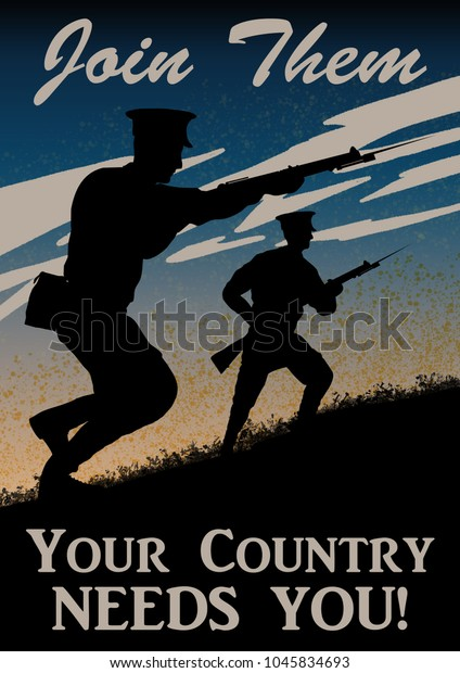 World War One recruitment poster. British solider silhouette. Original computer illustration.