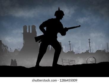 World War One soldier silhouette on a battlefield. 1914 - 1916 era. Original digital illustration.