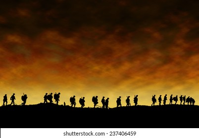 World War One Soldiers Silhouettes Below Cloudy Skyline At Dusk or Dawn
