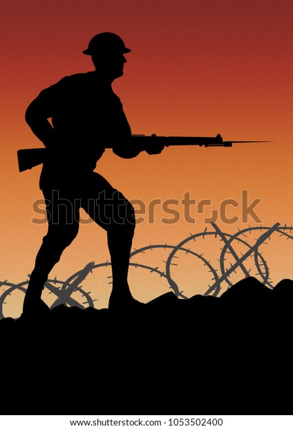 World War One style recruitment poster. British solider going forward with a gun silhouette. Space for text. Original computer illustration.
