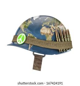 World war and peace helmet, Earth map texture source: cinema4dtutorial.net
