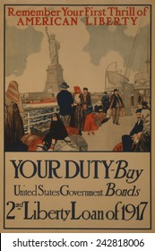 World War I poster aimed at recent American immigrants, urging them to purchase United States war bonds in 1917.