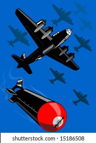 World war two bomber dropping a bomb