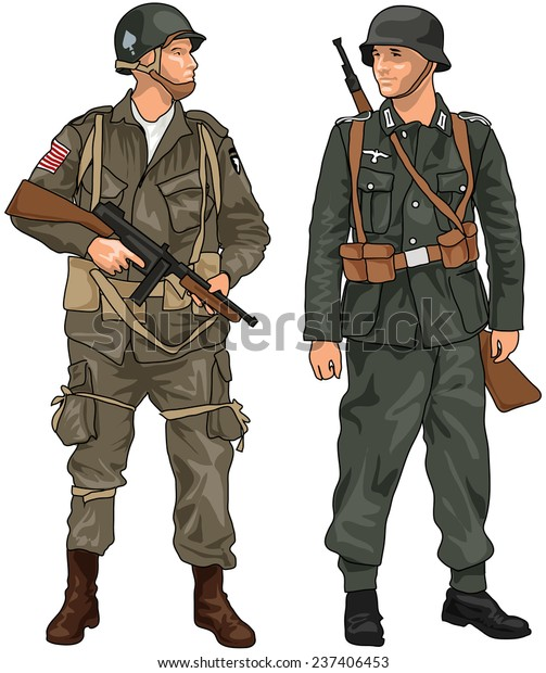 World War Two German American Soldiers Stock Illustration 237406453