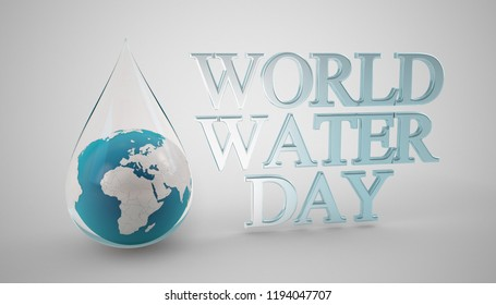 world water day, 3d rendering illustration