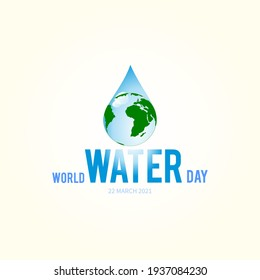 World water day lettering, logo, typography, mnemonic. Earth globe in water drop. World Water Day is an annual UN observance day (22 March) that highlights the importance of freshwater.