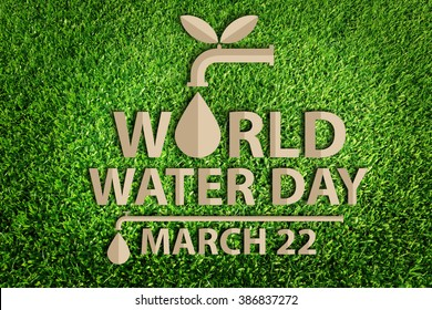 World Water Day. Save water concept. Paper cut of eco on green grass.