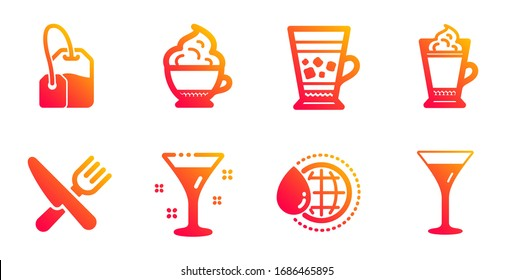 World water, Latte coffee and Frappe line icons set. Food, Cappuccino cream and Cocktail signs. Tea bag, Martini glass symbols. Aqua drop, Hot drink with whipped cream. Food and drink set.