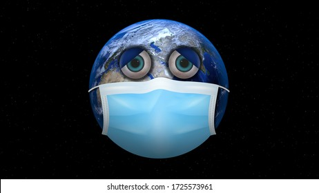 The world wearing a medical mask to protect against the virus. Sad face earth illustration. Covid-19 attack on the world concept.