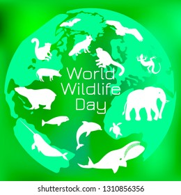 World Wildlife Day. The concept of an environmental event. Different animals on the background of the contours of the planet Earth