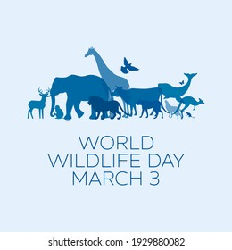 World Wildlife Day Poster with blue silhouettes of wild animals illustration. Wild animals silhouette. Environmental icon. Group of animals illustration. Wildlife Day Poster, March 3. Important day