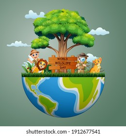 World Wildlife Day sign with zookeeper boys and lion