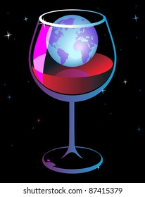 World in wineglass. Raster version. Vector version is also available.