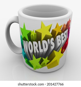 World's Best words colorful 3d stars white ceramic mug prize to the top employee, boss