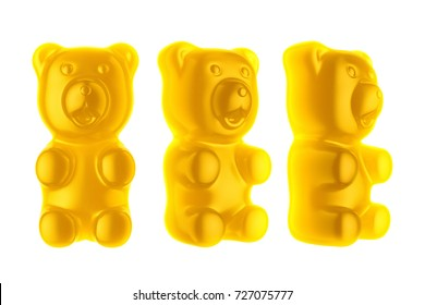 World's Largest Gummy Bears.  Large marmalade bear of yellow color. Isolated white background. 3d render