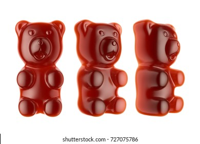 World's Largest Gummy Bears.  Large marmalade bear of red color. 3d render