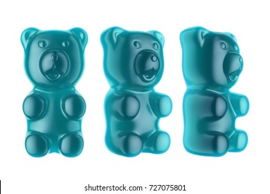 World's Largest Gummy Bears.  Large marmalade bear of blue color. 3d render