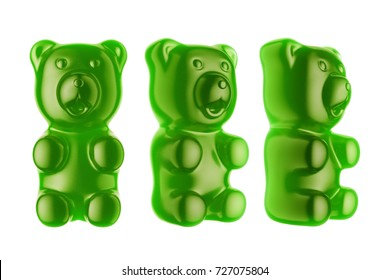 World's Largest Gummy Bears.  Large marmalade bear of green color. 3d render
