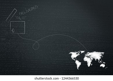 worldwide delivery concept: open parcel with dashed line route to destination on world map