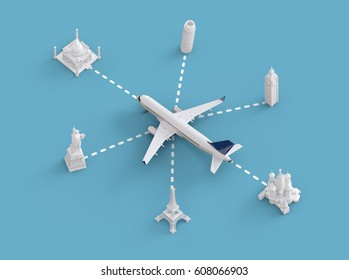 Worldwide flights and delivery concept. Traveling around the world by plane. Unusual 3d illustration