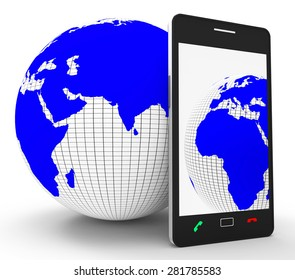 Worldwide Phone Connection Showing Web Site And Globalisation