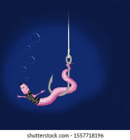 Worm on a hook underwater depicts Tom Cruise from Mission Impossible