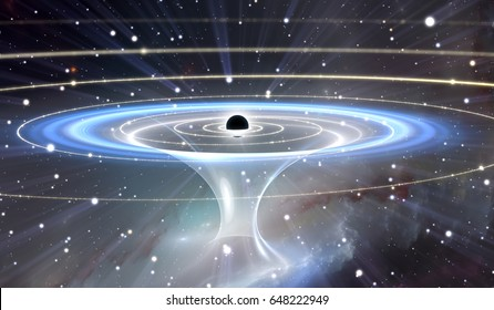 Wormhole or blackhole, funnel-shaped tunnel that can connect one universe with another, 3D illustration