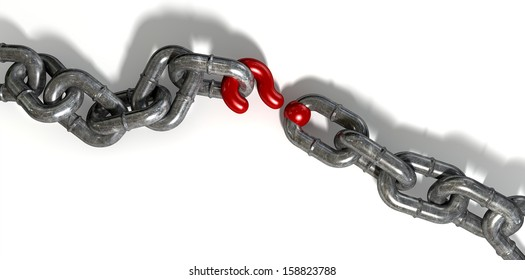 A worn metal chain with a red question mark as one of its links on an isolated background