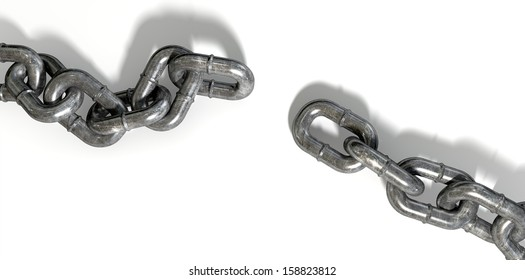 A worn metal with a missing link breaking the cycle on an isolated background