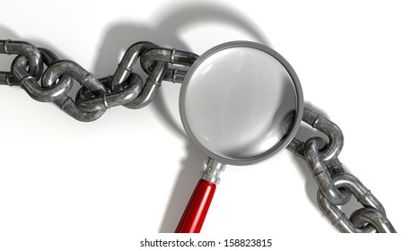 A worn metal with a missing link breaking the cycle highlighted by a magnifying glass with a red handle on an isolated background
