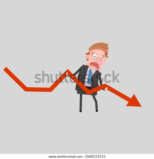 Worried businessman holding failure graph. 3d illustration