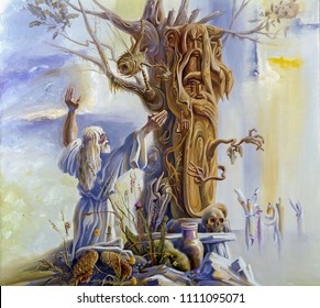 Worship of a wooden idol. Old Slavic paganism. Painting: canvas, oil. Author: Nikolay Sivenkov.