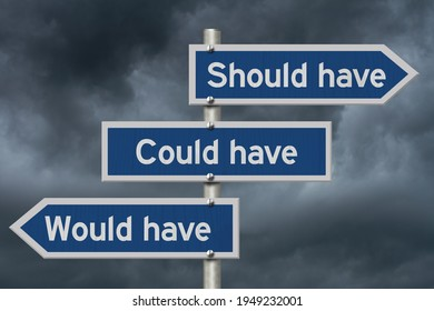 Would have could have, should have message on blue highway road sign with a stormy sky 3D Illustration