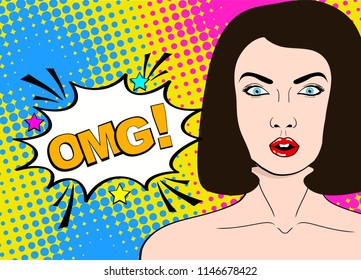 Wow pop art female face. Sexy surprised young woman with open mouth and dark hair and OMG! speech bubble. Bright background in pop art retro comic style.