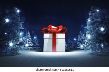 wrapped gift box in winter glittering magic woods, blue seasonal landscape background 3D illustration